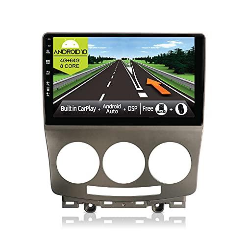JOYX Android 10 Autoradio Compatibile Mazda 5 (2005-2010) - [4G+64G] - [Built-in DSP/Carplay/Android Auto] - LED Camera GRATUITI - BT5.0 DAB Volante 4G WiFi 360-Camera - 9 Pollici 2.5D Screen - 2 Din