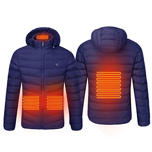 Boliaman Heat Heated Hoodie with Battery Pack - Electric Sweater Jacket Coat for Men Women Blue