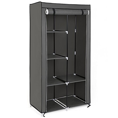 SONGMICS Fabric Wardrobe, Clothes Storage Organiser with 2 Hanging Rails, 6 Shelves, Customisable Design, 88 x 45 x 168 cm, for Bedroom, Department,Grey RYG84G