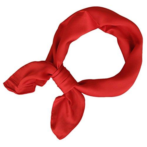 KAVINGKALY Foulard en satin carré pour les femmes Polka Dot foulards à col en ruban 27 par 27 pouces (rouge)
