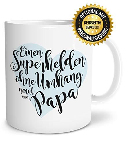 OWLBOOK Superheld Papa große Kaffee-Tasse mit Spruch im Geschenkkarton Geschenkidee Geschenke Vatertag Vatertagsgeschenk Vater