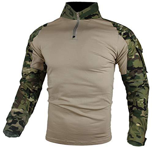 zuoxiangru Camiseta de Combate táctica para Hombres, Camisa Multicam Transpirable Ripstop para Caza Militar Airsoft (CP, EU S=Tag L)