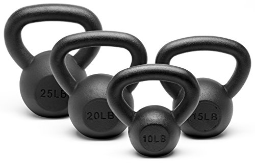 Unipack Powder Coated Solid Cast Iron Kettlebell Weights Set- (10+15+20+25 lbs)