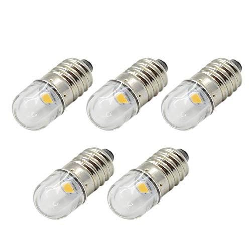 Ruiandsion 5 bombillas LED de 3 V E10 de 1 W, luz blanca cálida, reemplaza la antorcha de faros delanteros, mini focos de linterna, tierra negativa
