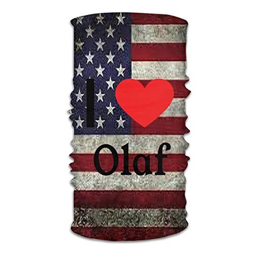 I Love Olaf - Funda para el sol, diseño de bandanas para el polvo, para la cara, bufanda, exterior, festivales, deportes,  Blanco, 60 x 39 inch