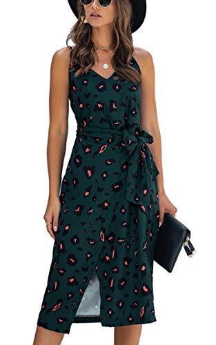 Spec4Y Damen Kleider Lang Blumen Sommerkleider V Ausschnitt Spaghetti Ärmellos Strandkleid mit Schlitz Small 234 Grün