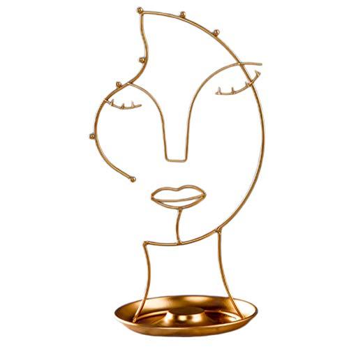 Cabilock - Expositor de joyas con árbol plano de almacenamiento de metal para anillos en forma de rostro, expositor para pendientes, collar, pulsera, color dorado