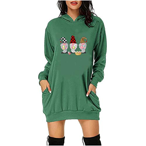 Judeyuan Camiseta de Pascua para Mujer, Vestido de Sudadera Corto con Bolsillos con Capucha y Estampado de Letras de Pascua para Mujer de Moda Verde XXL 2021 Último