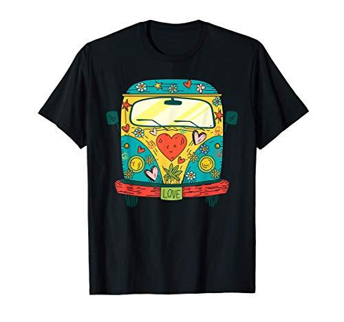 Hippie Kostüm - Peace Love Flower Power Retro Camper Bus Camiseta