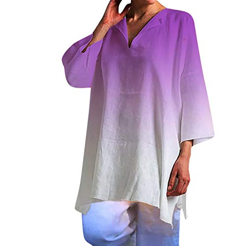HebeTop Women's Gradient Casual T-Shirt Long Sleeve V Neck Tunic Sweatshirt Tops Blouse Purple