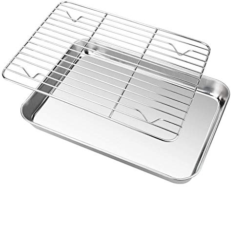 Zilong Toaster Oven Tray and Rack Set Stainless Steel Oven Pan Broiler Pan Non Toxic & Healthy Baking Tray 10.7x8.3 x1.4 Inch Baking Sheet Cookie Sheet with Cooling Rack Easy Clean & Dishwasher Safe