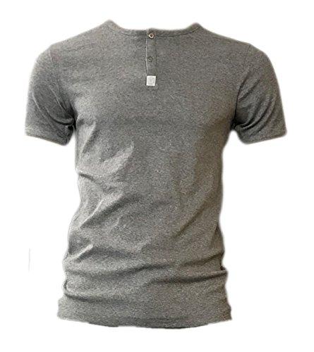 Carlo Colucci Herren Henley Shirt Kurzarm T-Shirt auch Unterhemd Unterwäsche, Größe:L, Farbe:Grau