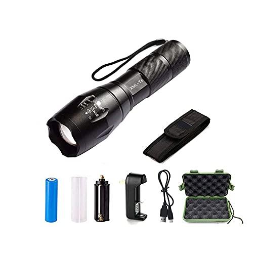 Linterna LED Alta Potencia, 2000 Lúmenes Linterna LED Recargable, 5 Modos Zoomable Impermeable Táctica, Cargador USB, Soporte para Bicicleta Funda de Linterna, para Emergencia Camping Senderismo