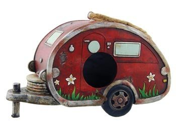 Birdhouse Camper Trailer, RV Collectible Garden Decor, 8-inch