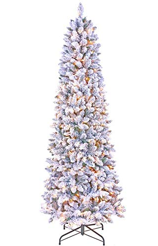 GOLDSTAR Artificial Pre-Lit Flocked Pencil Christmas Tree 7.5 Feet, Beautiful Crafted Flocked Snow Artificial Skinny...