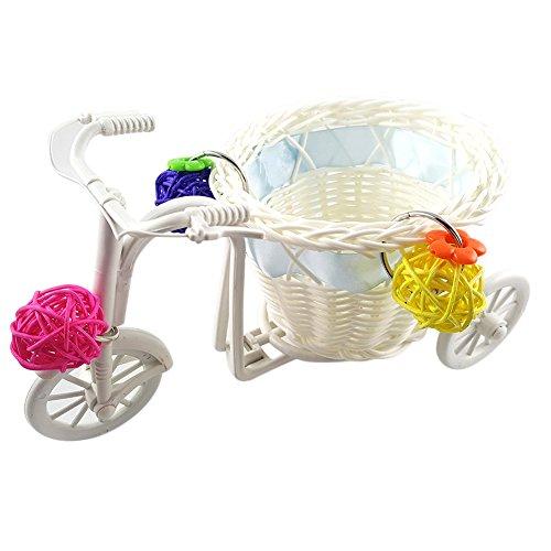 Toruiwa 1X Vogel Papagei Spielzeug Mini Warenkorb Wagen Fahrrad mit Sepak Takraw für Sittich Wellensittich Nymphensittich