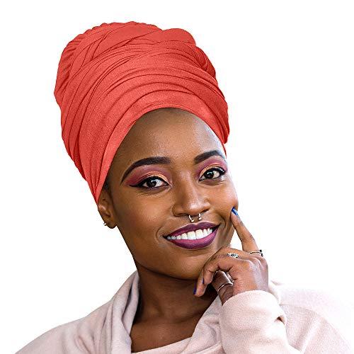Novarena Kopftuch / Kopftuch, Stretch, lang, Kente, afrikanischer Hut, Jersey, 30 Farben, 1-4 Stück