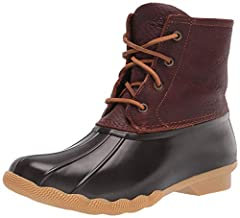 Combat cold, wet weather with the waterproof Saltwater boot from Sperry Duck-inspired waterproof boot Leather upper with a waterproof rubber foot Rawhide lacing with rust proof eyelets for secure fit Side zipper closure.Barrel tie lacing keeps laces ...