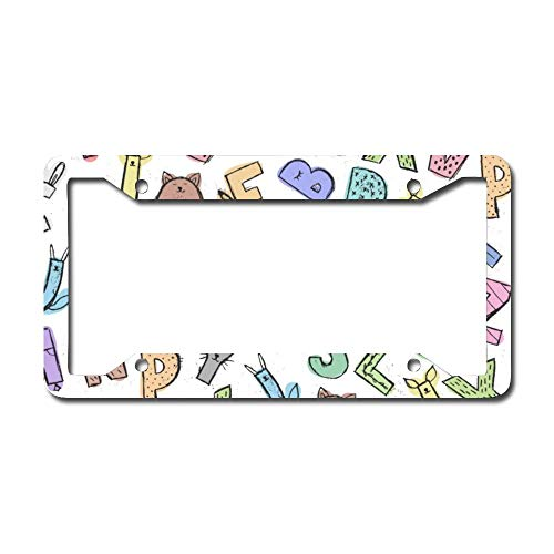 Whimsical Alphabet Letters for Kids Aluminum Car License Plate Frame - Chrome Metal Auto License Plate Frame Tag Holder Frame Cover - 12'x6' for Universal Cars
