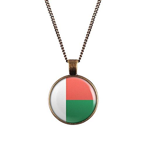 WeAreAwesome Madagaskar Flagge Halskette - Länderkette mit Fahne Anhänger Unisex Kette Afrika