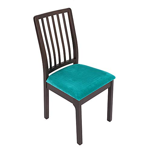 Soft Velvet Stretch Fitted Dining Chair Seat Covers, Removable Washable Anti-Dust Dining Room Upholstered Chair Seat Cushion Cover Kitchen Chair Protector Slipcovers with Ties - Set of 4, Teal