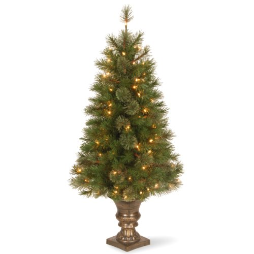 National Tree 4 Foot Atlanta Spruce Entrance Tree with 100 Clear Lights in Decorative Urn (AT7-306-40)