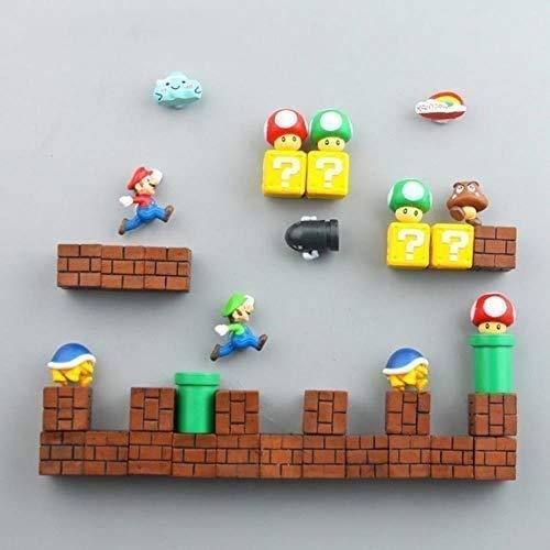 Imán para nevera 3D Super Mario Bros con mensaje de dibujos animados para juegos de dibujos animados 3D para caja de hielo de la marca Icebox, combinación 17