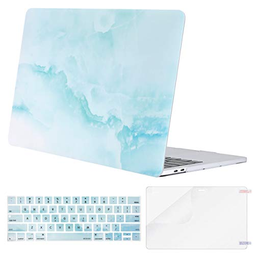 MOSISO MacBook Pro 13 inch Case 2019 2018 2017 2016 Release A2159 A1989 A1706 A1708, Plastic Cloud Marble Hard Shell Case & Keyboard Cover & Screen Protector Compatible with MacBook Pro 13, Hot Blue