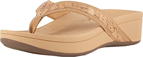 Vionic Women's Pacific High Tide Toepost Sandals – Ladies Platform Flip Flops with Orthotic Arch Support Gold Cork 8 Medium US