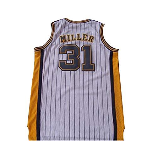 Herren Basketball Trikot Reggie Miller # 31 Indiana Pacers Street Retro T-Shirt Sommer Stickerei Tops Junge Swingman Basketball Kostüm Geburtstagsgeschenk (S-XXXL)-B-L(175.180cm)