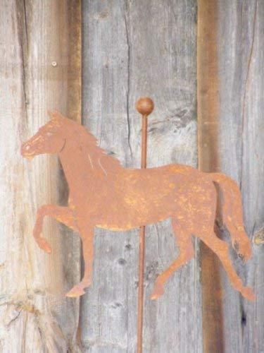 Edelrost Pferd auf Stab, Gartenstecker Rost
