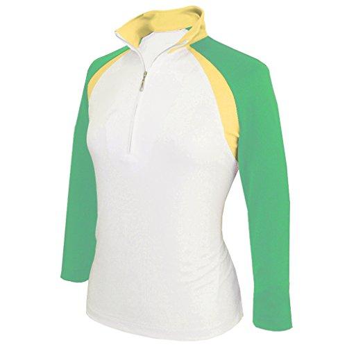 Monterey Club Damen Dry Swing doppelte Colorblock Stehkragen 3/4Sleeve Shirt # 2357, Damen, White/Spring Bud, XX-Large