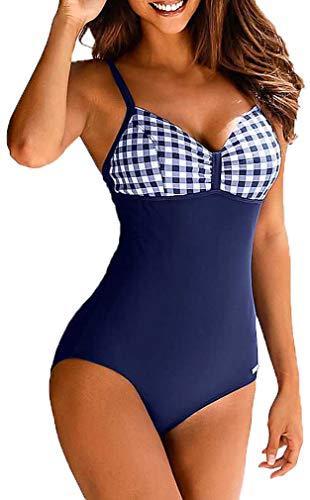 Socluer Badeanzüge Bauchweg Monokinis Bandeau Rückenfrei Figurformende Bademode Swimsuit für Damen Einteiler Badeanzug(M, Z-Navy)