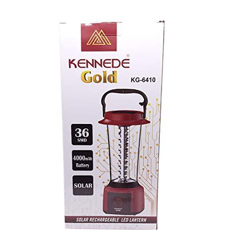 WOZIT KENNEDE Gold 36 Hi-Bright SMD LED Solar Rechargeable Charging Emergency Light Lantern| 4V 4000 mAh Battery | Home,Indoor, Study | Color -Red, Blue