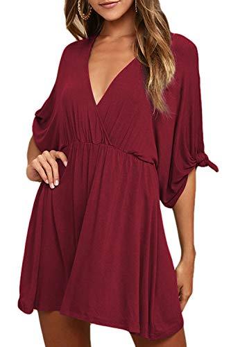 Meenew Women's Summer Simple Short Sleeve Casual Loose Swing Dress Ruby S
