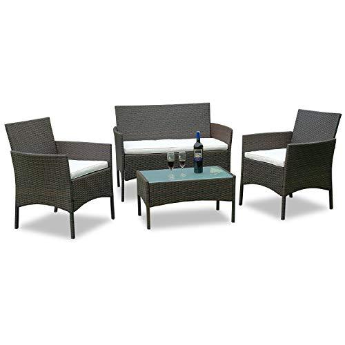 WIS Hengda® Poly Rattan Gartenmöbel Sitzgruppe Garnitur Gartengarnitur Sitzgarnitur Essgruppe (Braun)