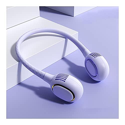 Ventilador Cuello Ventilador Portatil USB Recargable Mini Ventilador De Manos Libres 3 Velocidades Rotación Libre De 360°luz Led para Viajes Interior Exterior (Color : Purple)