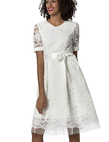 APART Elegantes Damen Kleid, Brautkleid, Farbton: Crème, aus Spitze und Mesh, mit Satin-Bindegürtel, ausgestellte Form, Creme, 38