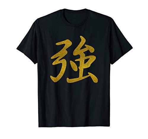 Japanische Kalligrafie Wort Zeichen Stärke T-Shirt