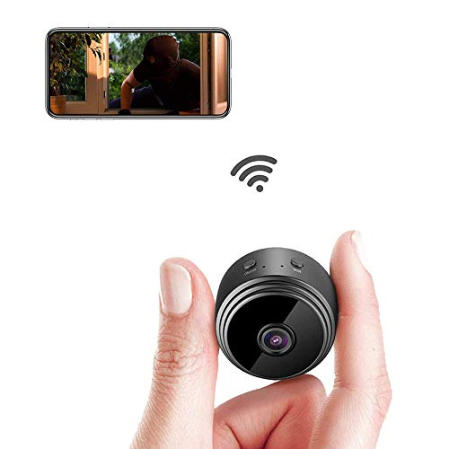 Mini Spy Hidden Camera,WiFi Inalámbrica Pequeña Cámara Oculta,150ºGran Angular Detección 1080P HD Micro Camara Vigilancia Grabadora de Interior/Exterior Video Portátil