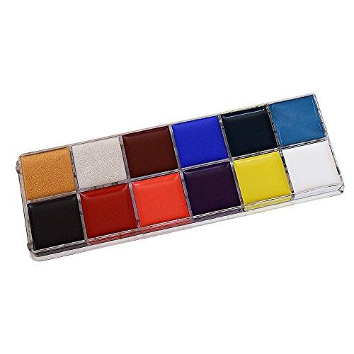 Contever® Palette De Maquillage - 12 Couleurs Visage Peinture à Huile Multi-Couleurs Halloween Spécial Fêtes