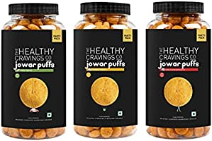 The Healthy Cravings Co - Snack Jars - Slow Roasted Jowar Puffs - Indian Spices + Cheddar Cheese + Herbs & Sundried...