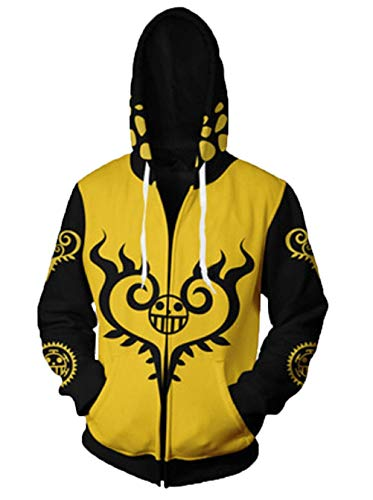 Adonis Pigou Anime One Piece Cosplay Hoodie Printed Unisex Jacket Sweater Coats (L, Yellow and Black)