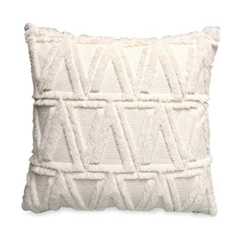 RAILONCH 2er Set Boho Kissenbezug Kissen, Dekokissen Weich Kissenhüllen, Marokko Getuftete Kissenbezüge für Couch Sofa Schlafzimmer Wohnzimmer 45x45cm(Ohne Kissenkern) (Beige)