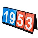 Aphse Scoreboard Flipper Portable Table Top Score Keeper 4-Digital Score Flipper Score Counter Scoring System...