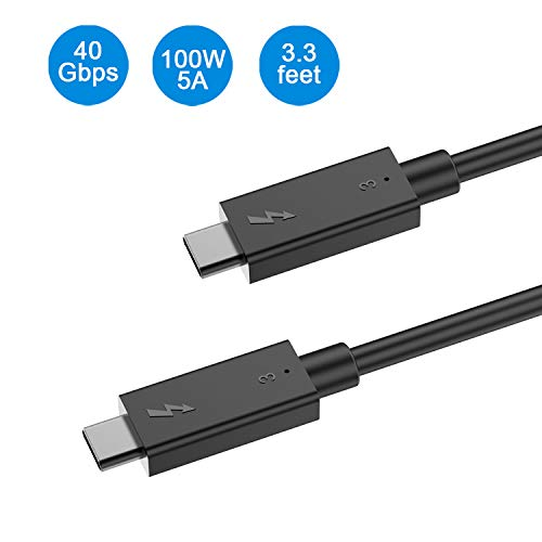 Thunderbolt 3 Cable 3.3FT 40Gbps(USB4)100W Charging Compatible with USB 3.1 Gen 1 and 2 Support 5K UHD Display Perfect for Thunderbolt 3 Port for New MacBook Pro, Acer Aspire Switch, Dell XPS and More