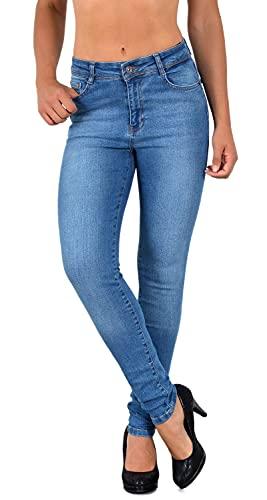 ESRA Damen Jeans Jeanshose Damen Skinny High Waist Hochbund Stretch Hose bis Übergröße S700