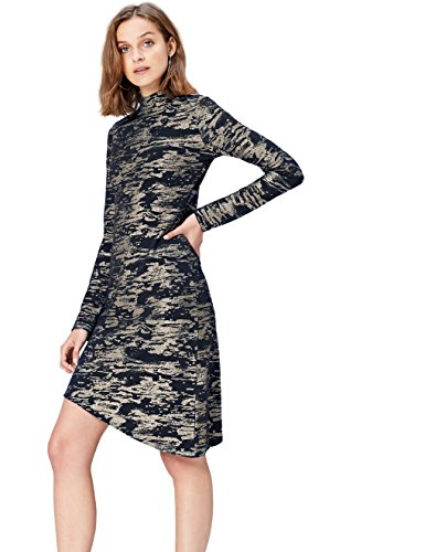 Marca Amazon - find. Vestido Camuflaje para Mujer, Multicolor (Multi), 36, Label: XS