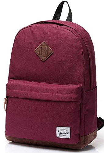 Vaschy Unisex Classic Lightweight Water-resistant Campus School Rucksack Travel BackPack Burgundy Fits 15.6Inch Laptop