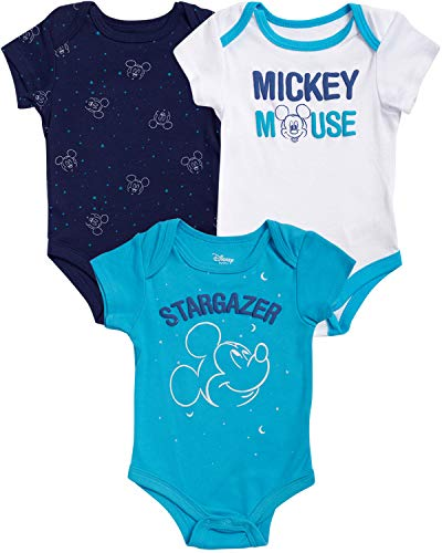 Disney Mickey Mouse Newborn Baby Boys Bodysuits (3 Pack)